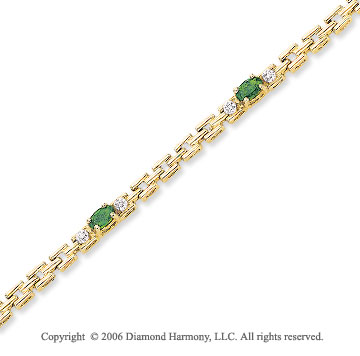 14k Yellow Gold Oval Emerald Diamond Tennis Bracelet