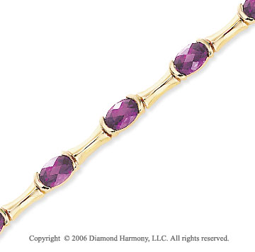 14k Yellow Gold 13 Stone Oval Amethyst Tennis Bracelet