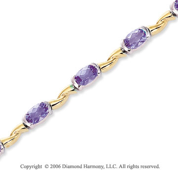 14k Two Tone Gold Oval Channel Amethyst Tennis Bracelet