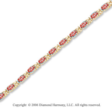 14k Yellow Gold 18 Stone Oval Garnet Tennis Bracelet