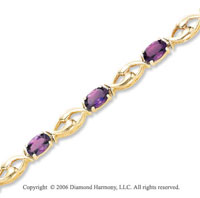 14k Yellow Gold 11 Stone Oval Amethyst Tennis Bracelet