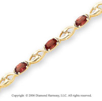 14k Yellow Gold 11 Stone Oval Garnet Tennis Bracelet