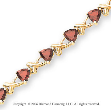 14k Yellow Gold XOXO Trillion Garnet Tennis Bracelet