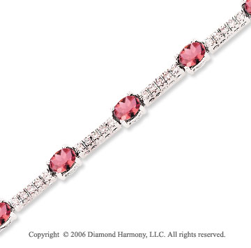 14k White Gold Oval Pink Sapphire .70 Carat Diamond Tennis Bracelet
