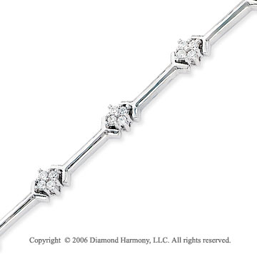 14k White Gold 3/4 Carat Prong Diamond Fashion Bracelet