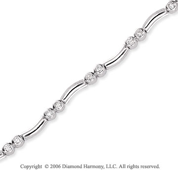 14k White Gold Curve Bezel Duos Diamond Tennis Bracelet