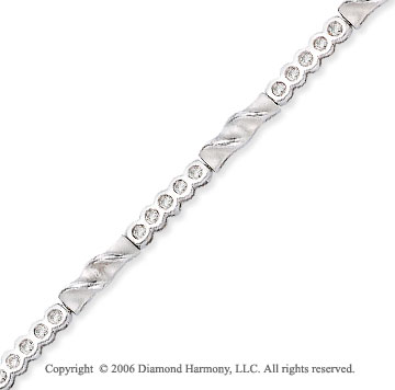 14k White Gold 1/2 Carat Round Diamond Fashion Bracelet