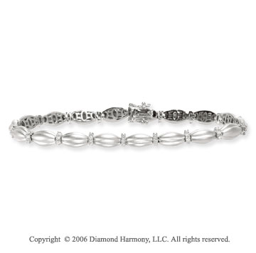 14k White Gold Carved 1/2 Carat Diamond Fashion Bracelet