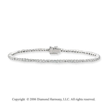 14k White Gold Prong 3 1/2  Carat Diamond Tennis Bracelet