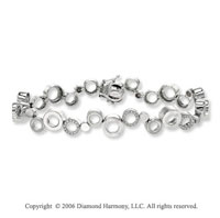 14k White Gold Ringlets 0.60 Carat Diamond Fashion Bracelet
