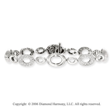 14k White Gold Oval Links 10mm Diamond Charm Bracelet