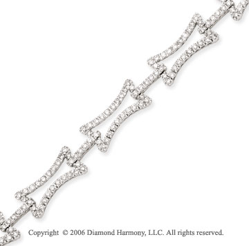 14k White Gold Links Hourglass Diamond Charm Bracelet
