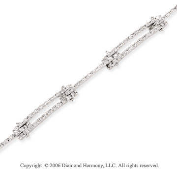 14k White Gold Pave 1.00 Carat Diamond Fashion Bracelet
