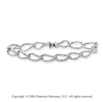 14k White Gold Links 9mm Pave Diamond Charm Bracelet