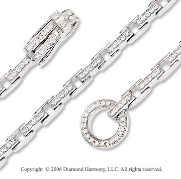 14k White Gold Toggle 1.00 Carat Diamond Fashion Bracelet