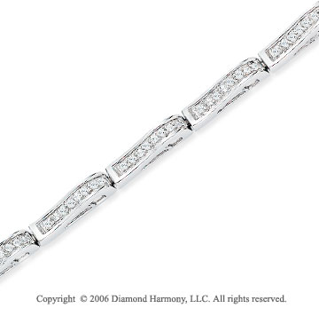 14k White Gold 2.25 Carat Round Diamond Fashion Bracelet