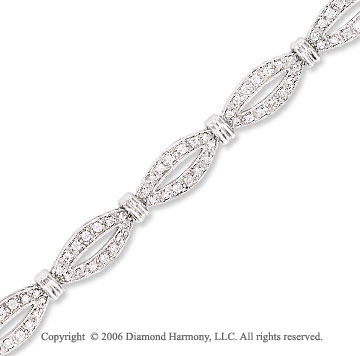 14k White Gold Lips 1.00 Carat Diamond Fashion Bracelet