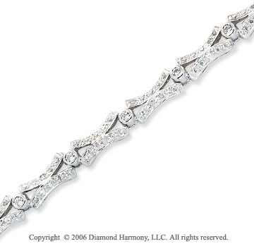 14k White Gold XO 1 1/5 Carat Diamond Fashion Bracelet