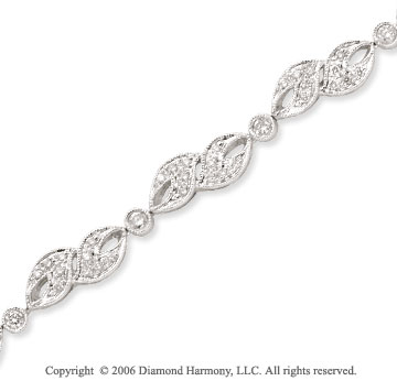 14k White Gold Stylish 0.90 Carat Diamond Fashion Bracelet