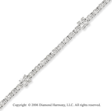 14k White Gold Clusters 2.00  Carat Diamond Tennis Bracelet