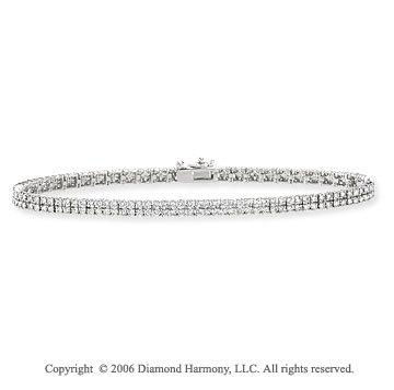 14k White Gold Classic 3.10  Carat Diamond Tennis Bracelet