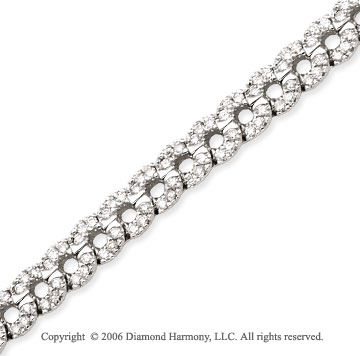 14k White Gold Circles 3.00  Carat Diamond Tennis Bracelet