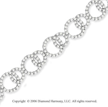 14k White Gold Circles Classic Diamond Charm Bracelet