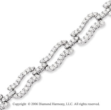 14k White Gold Links 3.00 Carat Diamond Fashion Bracelet