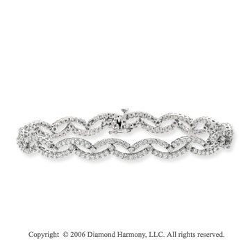 14k White Gold Waves 3.10 Carat Diamond Fashion Bracelet