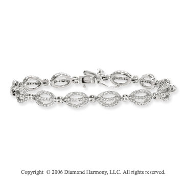 14k White Gold 2.95 Carat Prong Diamond Fashion Bracelet