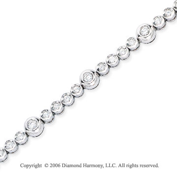 14k White Gold 4 to One 1 1/4  Carat Diamond Tennis Bracelet