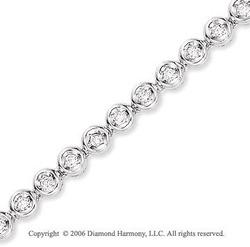 14k White Gold Bezel 1.00  Carat Diamond Tennis Bracelet