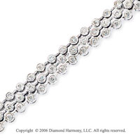 14k White Gold Triple Bezel 1 1/2  Carat Diamond Tennis Bracelet