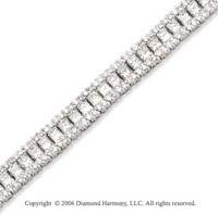 14k White Gold Princess Round 8.00  Carat Diamond Tennis Bracelet