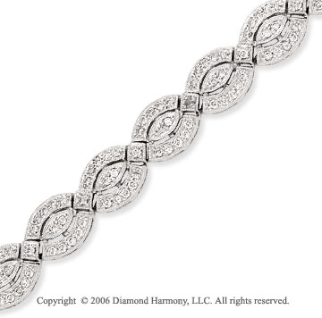 14k White Gold Pave 1 1/3 Carat Diamond Fashion Bracelet
