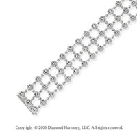 14k White Gold Round 7.60 Carat Diamond Fashion Bracelet