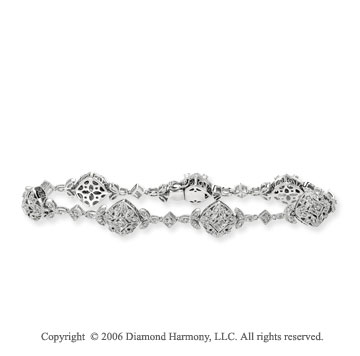 14k White Gold Filigree 1.00 Carat Diamond Fashion Bracelet
