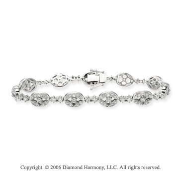 14k White Gold Ellipses 1.80 Carat Diamond Fashion Bracelet