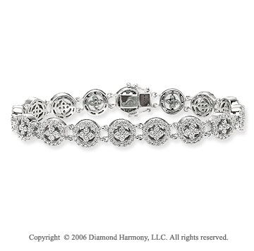 14k White Gold Wheels 2.70 Carat Diamond Fashion Bracelet