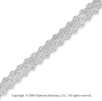 14k White Gold Three Row 4/5 Carat Diamond Fashion Bracelet