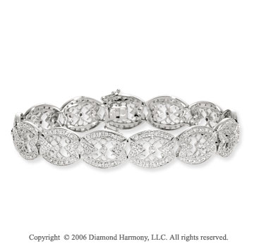 14k White Gold Kaleidoscope 1.00  Carat Diamond Tennis Bracelet