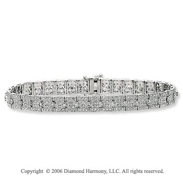 14k White Gold Pave Prong 2.35 Carat Diamond Tennis Bracelet