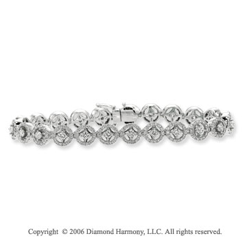 14k White Gold Buttons 3 1/4  Carat Diamond Tennis Bracelet
