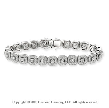 14k White Gold Princess Round 2 3/4  Carat Diamond Tennis Bracelet