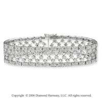 14k White Gold Filigree 6.30 Carat Diamond Fashion Bracelet