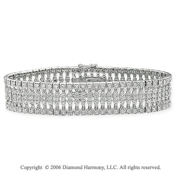 14k White Gold Columns 11.0  Carat Diamond Tennis Bracelet