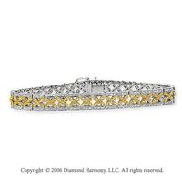14k Two Tone Gold Lattice 1.35 Carat Diamond Tennis Bracelet