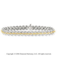 14k Two Tone Gold 3 Layer .80 Carat Diamond Tennis Bracelet