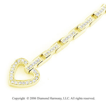1.00 Carat 14k Yellow Gold Toggle Heart Diamond Bracelet
