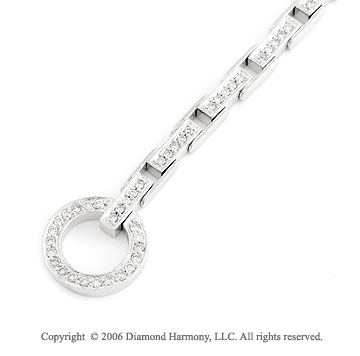 14k White Gold Fashion Link 0.85  Carat Diamond Bracelet